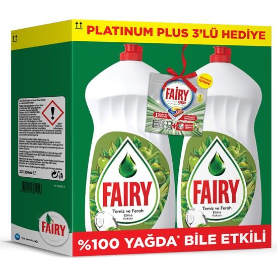 Fairy 2700 ml ( 2 x 1350 ml) Sıvı Bulaşık Deterjanı Elma Fırsat Paketi + 3'lü Fairy Platinum Plus Deneme Paketi Hediyeli
