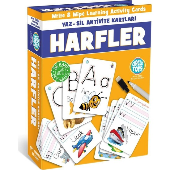 Sevfe Circle Toys Harfler Yaz-Sil Aktivite Kartları Çift Taraflı 32 Kart