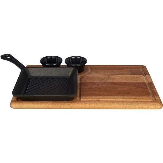 Lava Mini 16 x 16 Grill Tava Ahşap Altlık Standı