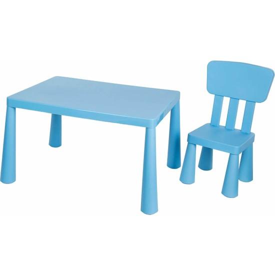 Asz Çocuk Oyun ve Çalışma Masa Sandalye Seti - Mavi