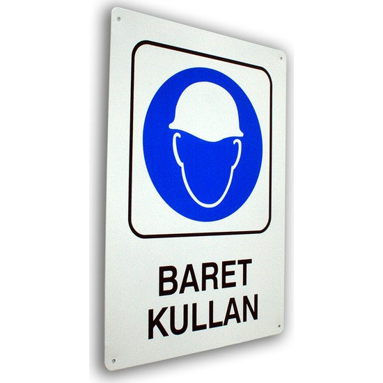 PassPano Metal Iş Güvenliği Levha BARET KULLAN 25,5 x 36 cm
