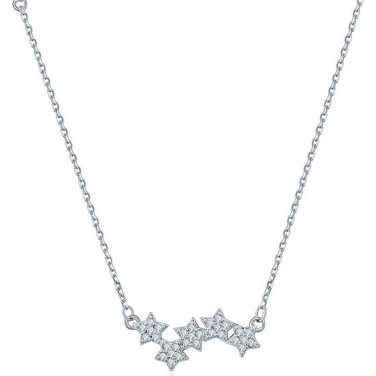 VipBT Gümüş Kristal Yıldız 925 Ayar Kolye