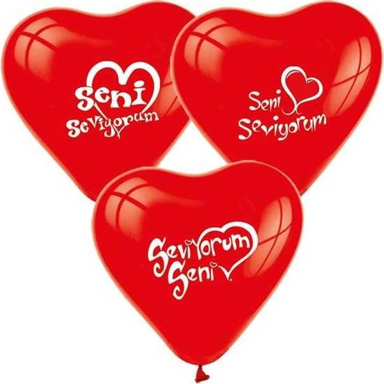 Kidspartim Seni Seviyorum Baskili Kirmizi Kalp Balon