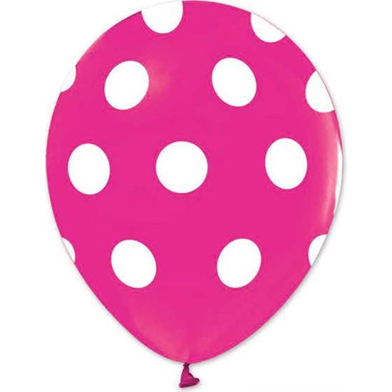 Kidspartim Beyaz Puantiyeli Fuşya Balon