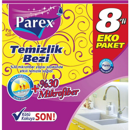 Parex (%30 Microfiber) Temizlik Bezi 8'li