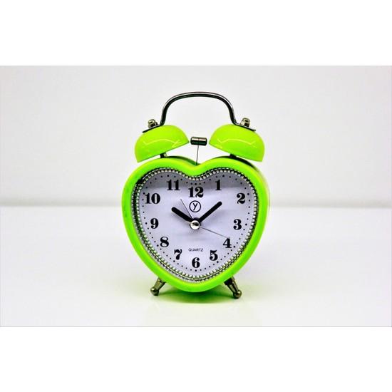 Quartz Nostaljik Zilli Alarm Yeşil Kalpli Çalar Saat Masa Saati 12 x 8,5 cm