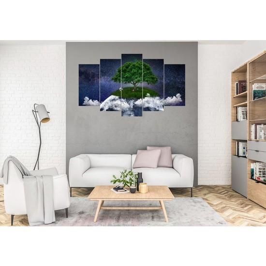 Hediye Kapında 5 Parçalı Dekoratif Tablo Göl Ağaçlar