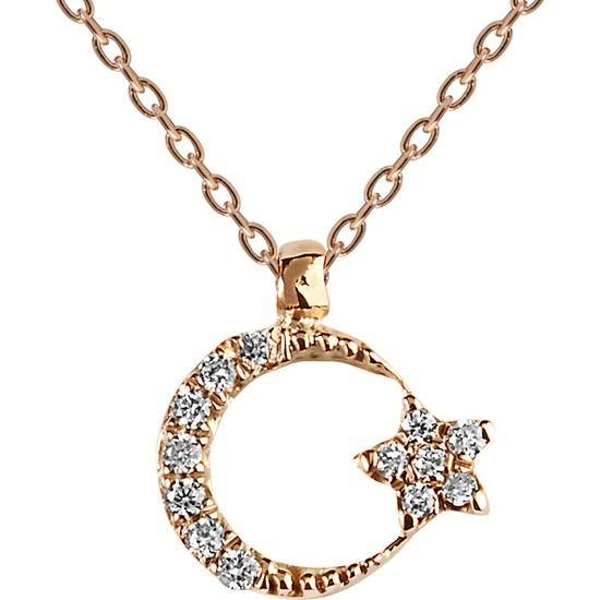 Clavis Jewelry Ay Yıldızlı Pırlanta Kolye 14 Ayar