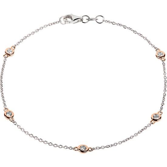 Clavis Jewelry Pırlanta Bezeli Zincir Bileklik 14 Ayar