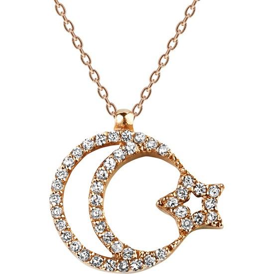 Clavis Jewelry Pırlantalı Ay-Yıldız Kolye 14 Ayar