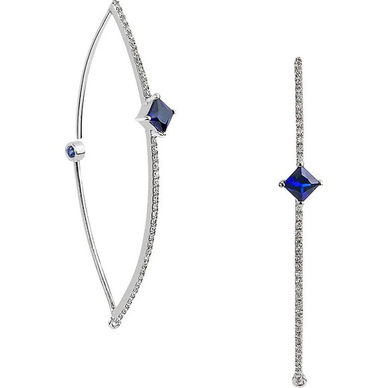 Clavis Jewelry Safir Taşlı Pırlanta Küpe 8 Ayar
