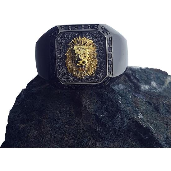 Dalman Silver Apolet Çift Renkli Siyah Taşlı Özel Koleksiyon Siyah Taşlı Erkek Yüzüğü