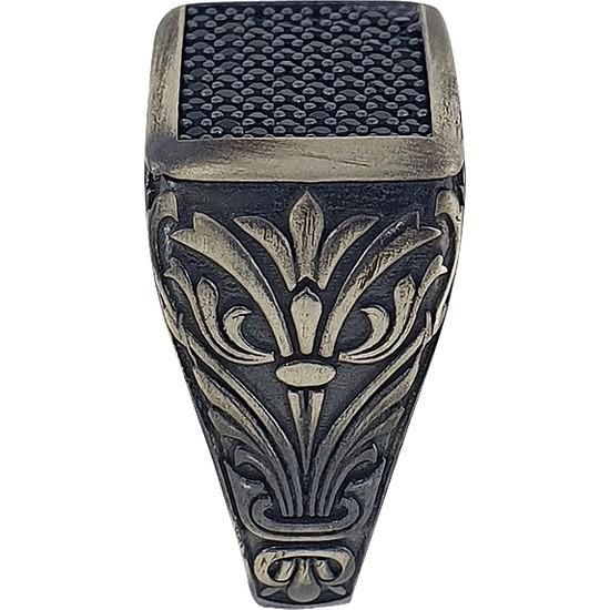 Dalman Silver Dalman Silverkare Özel Taşlı Oksitli Gümüş Erkek Yüzüğü