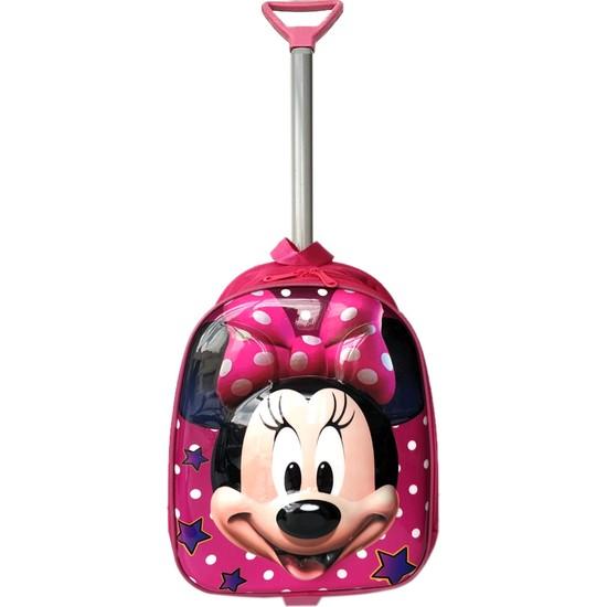 Redpoloshop Anaokulu Çekçekli Sırt Çantası 5D ABS Kabuk Yüzey Minnie Mouse