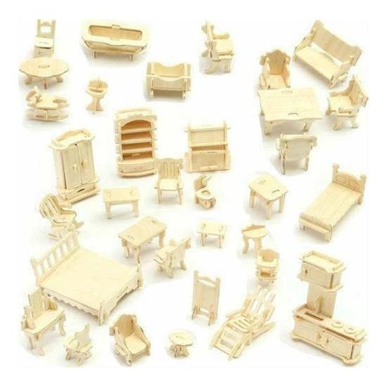 Hamaha Eğitici Minyatür Ahşap Ev Eşyaları Maket Oyuncak
