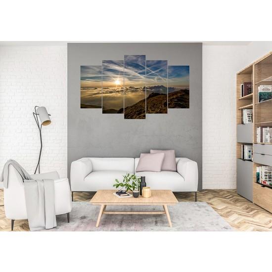 Hediye Kapında 5 Parçalı Dekoratif Tablo Dağ ve Bulut