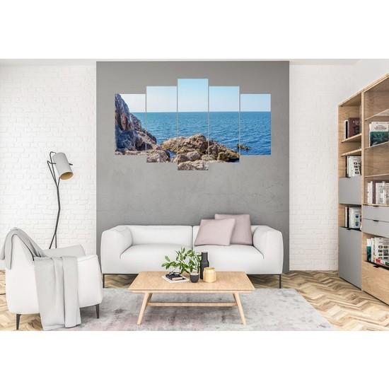 Hediye Kapında 5 Parçalı Dekoratif Tablo Deniz
