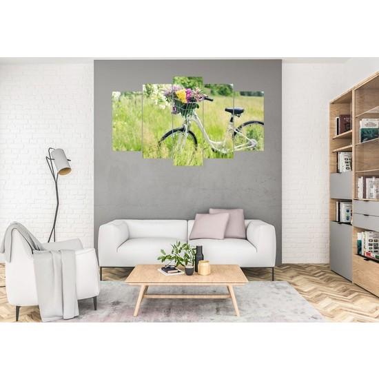 Hediye Kapında 5 Parçalı Dekoratif Tablo Bisiklet