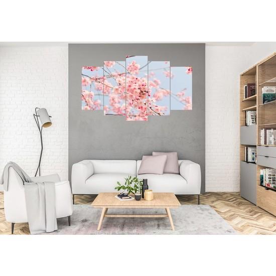 Hediye Kapında 5 Parçalı Dekoratif Tablo Kiraz Çiçeği