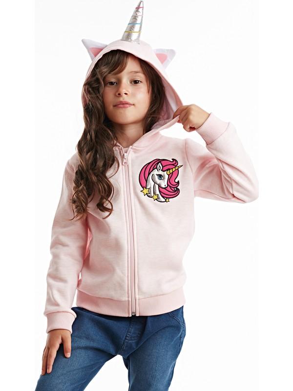 Denokids Unicorn Kapüşonlu Kız Sweatshirt