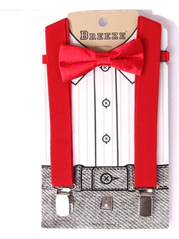 Eh Erkek Çocuk Pantolon Askısı Papyonlu Kırmızı 1-7 Yaş