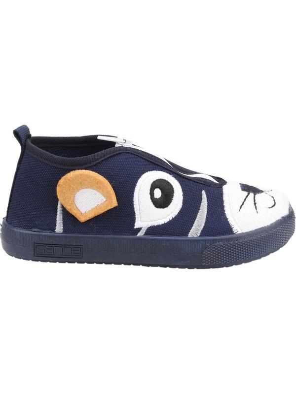 Sanbe 106P107 Okul Kreş Kız/Erkek Çocuk Keten Panduf Ayakkabı Lacivert