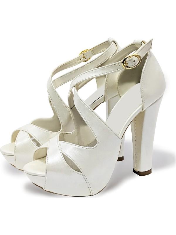 BB Shoes Aria Abiye Düğün Sedef Beyaz Renk