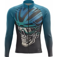 Freysport Skull-04 Bisiklet Forması Uzun Kol - Siyah Mavi