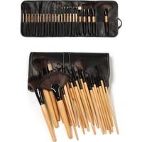 Izla 24 Parça Kaliteli Deri Çantalı Bambu Makyaj Fırça Seti