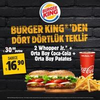 Burger King Dört Dörtlük Menü - 2 Whopper Jr. + Orta Boy Coca-Cola + Orta Boy Patates