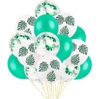 Kidspartim 15 'li Yeşil Konfetili Yaprak Desenli Balon Seti