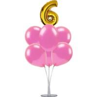 Kidspartim 7 'li Balon Stand Demeti 6 Altın Pembe Balon