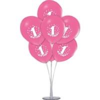 Kidspartim 7 'li Balon Stand Demeti 1 Yaş Pembe Balon