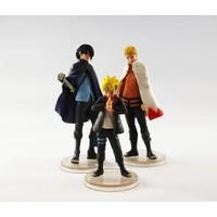 Bandai Naruto Sasuke ve Boruto Action Figure Anime Manga Figür 12 cm 3'lü Set