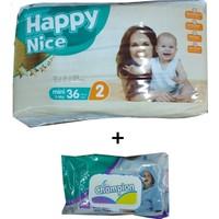Happy Nice 2 Numara Bebek Bezi 36 3-6 kg ( 120 li Islak Mendil )