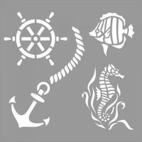 Artikel Deniz Hayatı Stencil Tasarımı 30 X 30 Cm
