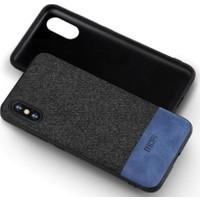 Mofi Apple iPhone XS Kumaş TPU Kılıf Mavi