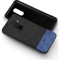 Mofi Xiaomi Pocofone F1 Kumaş TPU Kılıf Mavi