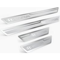 Tual Hyundai Logolu Gümüş Kapı Eşiği, Kapı Karşılama 4'lü Set