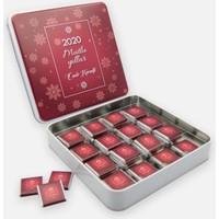 Mutluluk Atölyem Yılbaşı Özel Hediyesi Kare Metal Kutuda Kişiye Özel Çikolata