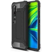 Case 4U Xiaomi Mi Note 10 Kılıf Çift Katmanlı Zırh Koruma Tank Crash Arka Kapak Siyah