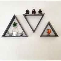 Evmax Ahşap Üçgen 3'lü Dekoratif Duvar Rafı Kitaplık