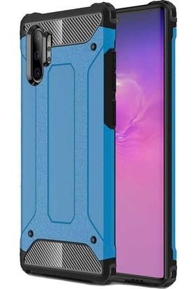 Tekno Grup Samsung Galaxy Note 10 Plus Kılıf Çift Katmanlı Darbe Emici Crash Tank Kılıf + Tam Kaplayan 6D Nano Ekran Koruyucu - Mavi