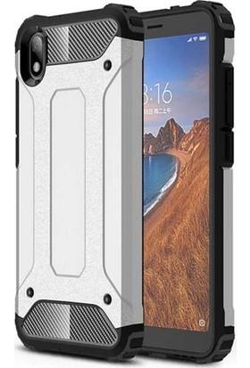 Tekno Grup Xiaomi Redmi 7A Kılıf Çift Katmanlı Darbe Emici Crash Tank Kılıf + Nano Ekran Koruyucu - Gümüş