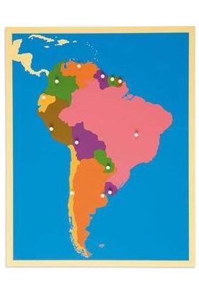 Montessori Güney Amerika Haritası Puzzle Tak Çıkart