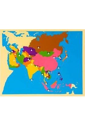 Montessori Asya Haritası Puzzle Tak Çıkart