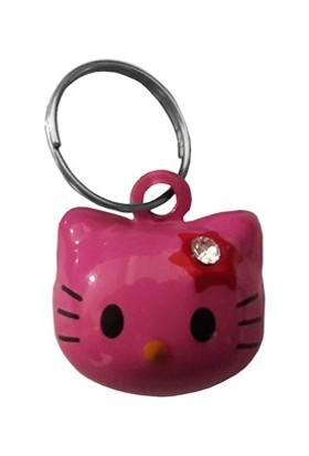 Doggie Küçük Kedi Kafası Şekilli Kedi Tasma Çanı 1 - 2 cm Pembe