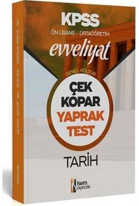 İsem Yayıınları 2020 Kpss Ortaöğretim Ön Lisans Evveliyat Genel Kültür Tarih Çek Kopar Yaprak Test