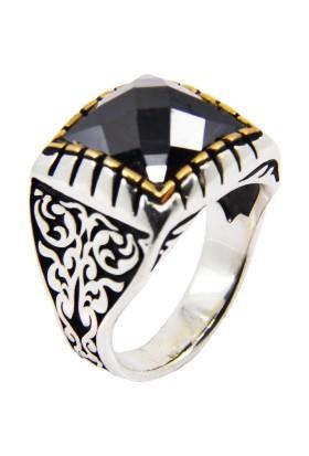 Karakaya Kuyumculuk Siyah Kare Taşlı Gümüş Erkek Yüzük Kare Zirkon Taşlı Gümüş Yüzük