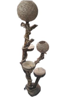 Kumsal Doğal Ağaç Lambader Kütük Ağaç Abajur